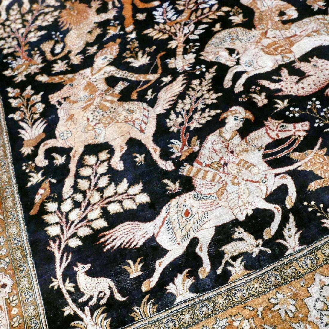 Hand Knotted Silk Hunting Scene Qum Rug 6.3x4.1 - 4