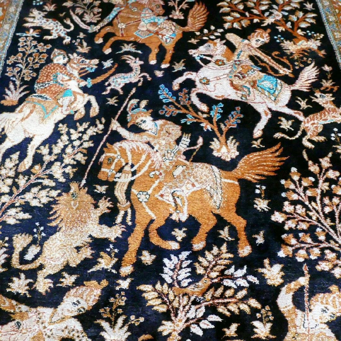 Hand Knotted Silk Hunting Scene Qum Rug 6.3x4.1 - 5