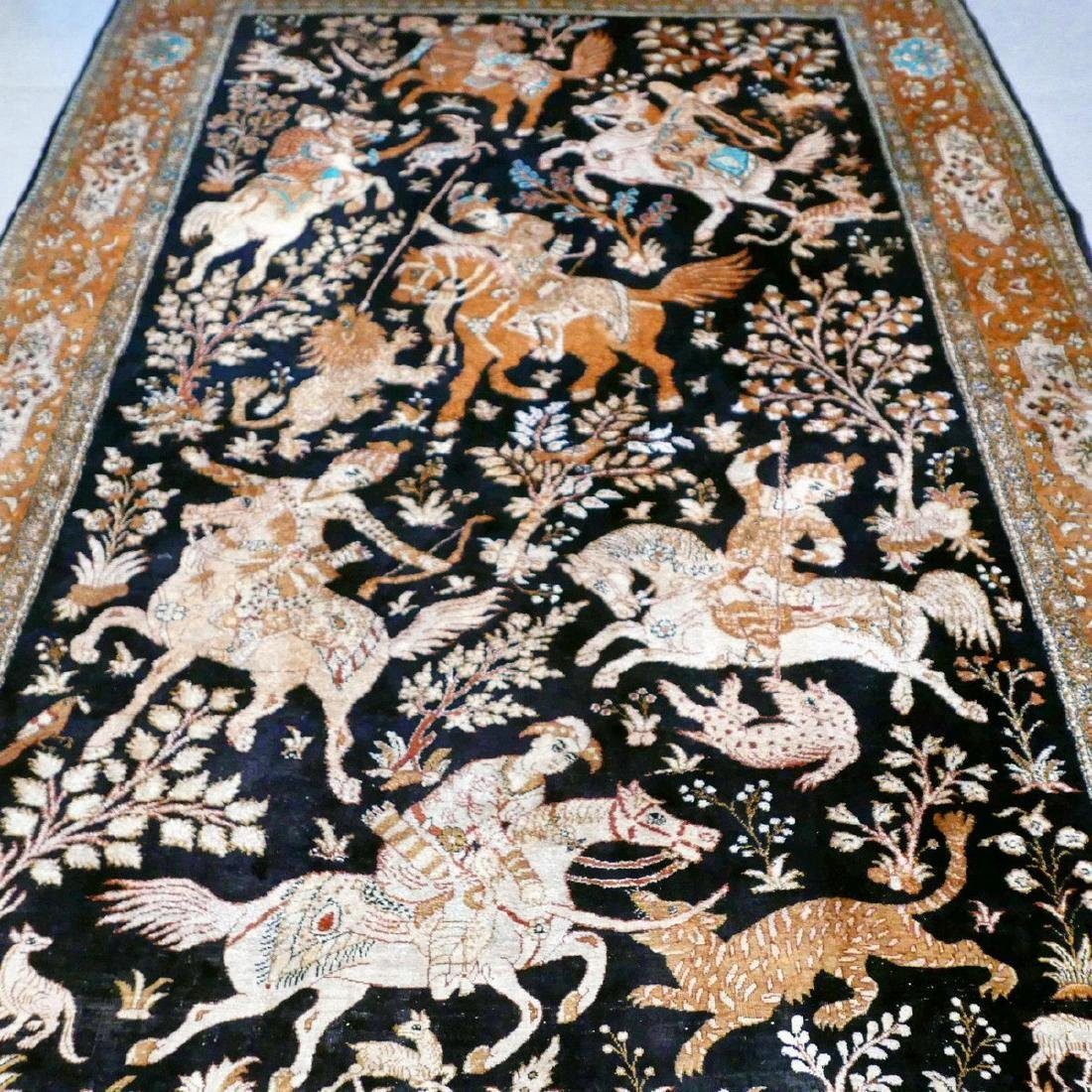 Hand Knotted Silk Hunting Scene Qum Rug 6.3x4.1 - 6