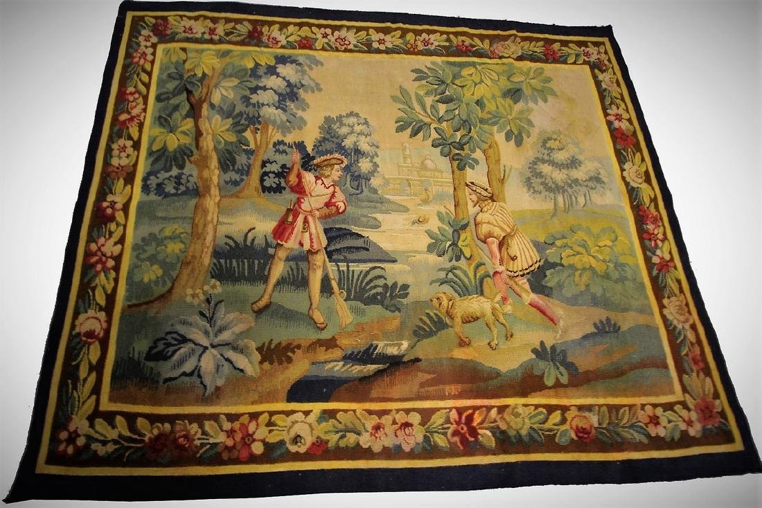 Antique French Aubusson Tapestry Wool & Silk 5.3x6.4