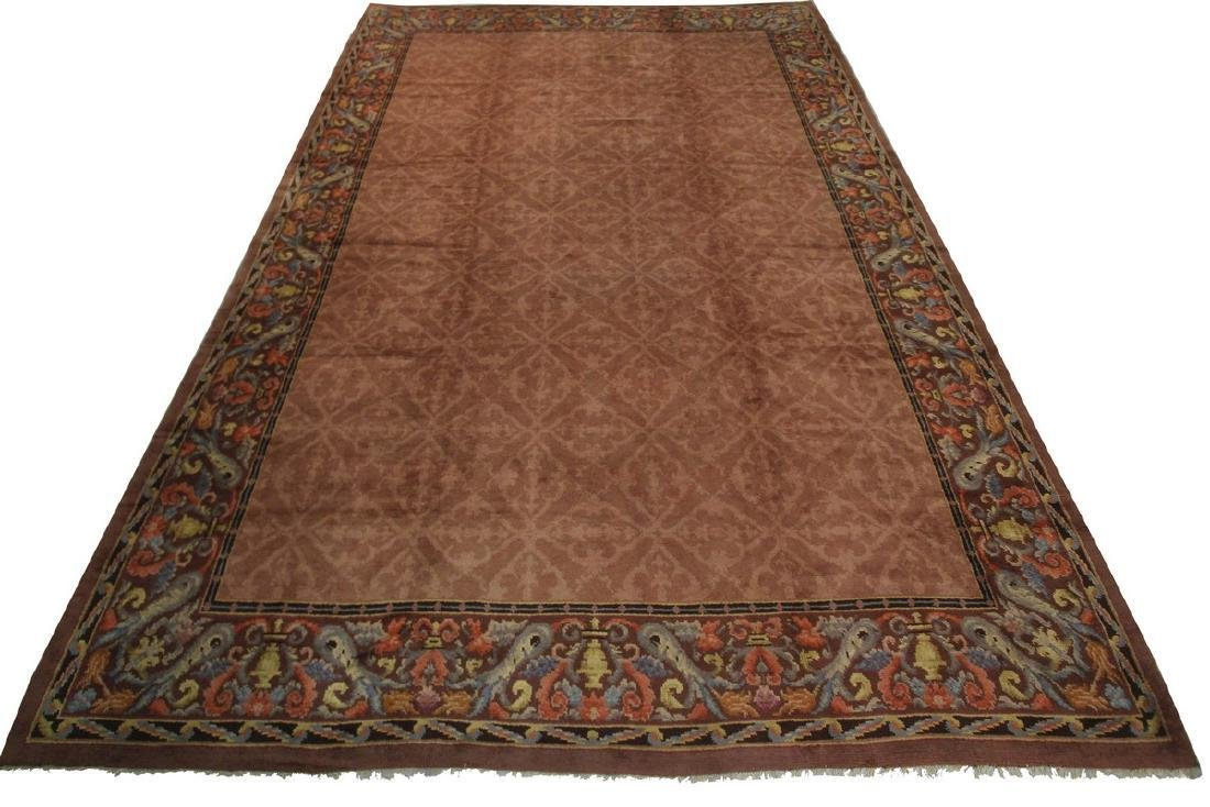 Antique French Savonnerie Rug Rose Light Brown 12x17