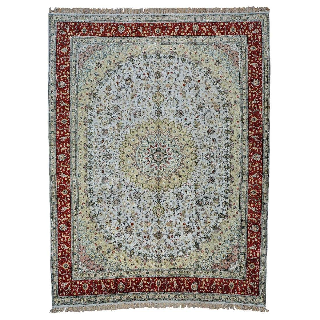 Medallion Design Silk Kashan Hand Knotted Rug 9.10x13.6