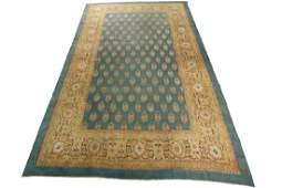 Antique Agra Rug Amritsar Green Oushak Tones 10.8x16