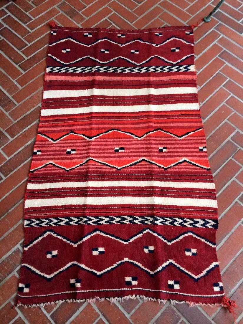 Vintage Navajo Child Blanket Cochineal Indigo 2.5x4.1