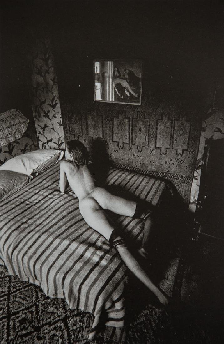 JEANLOUP SIEFF - Nude on Striped Bed, Paris 1975