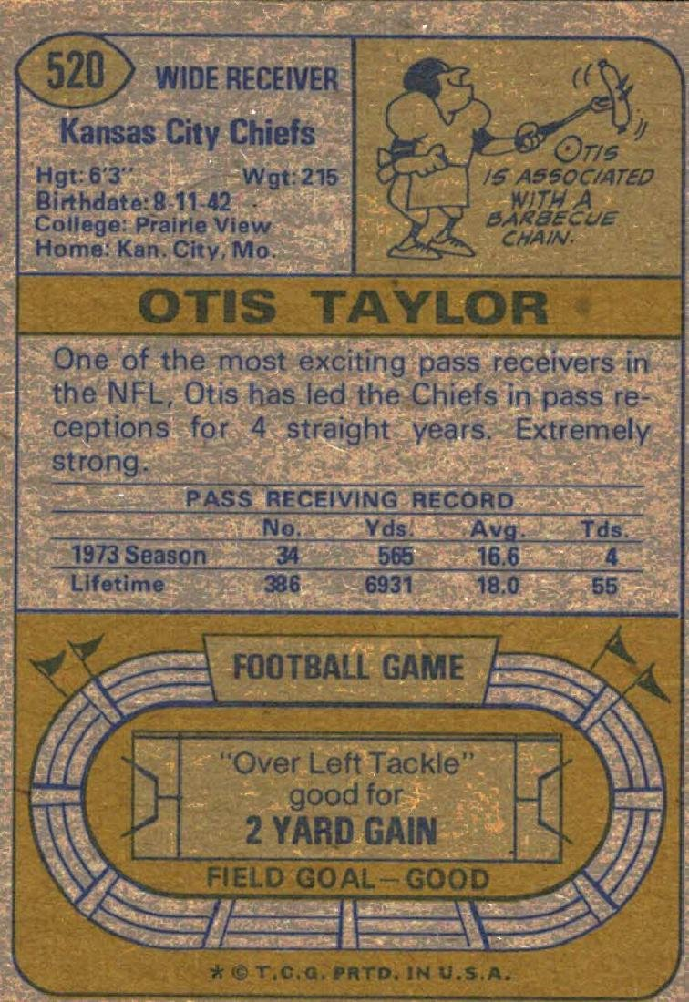 1974 Topps Otis Taylor Kansas City Chiefs - 2