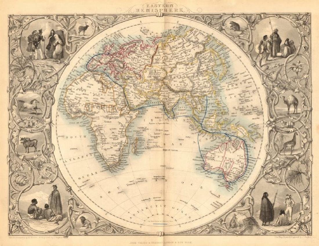 Tallis/Rapkin: Antique Map of Eastern Hemisphere, 1849