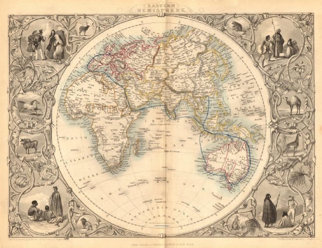 Tallis/Rapkin: Antique Map of Eastern Hemisphere, 1849