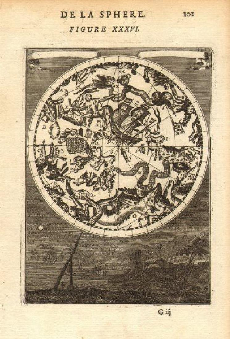 Mallet: Antique Celestial Map Southern Night Sky 1683