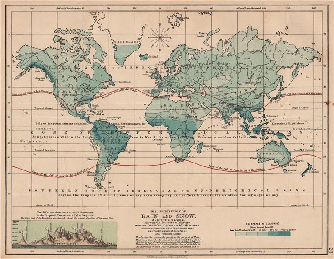 Johnston: Antique Map of World Precipitation, 1906