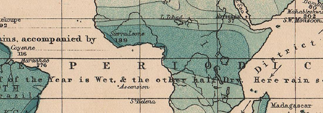 Johnston: Antique Map of World Precipitation, 1906 - 2