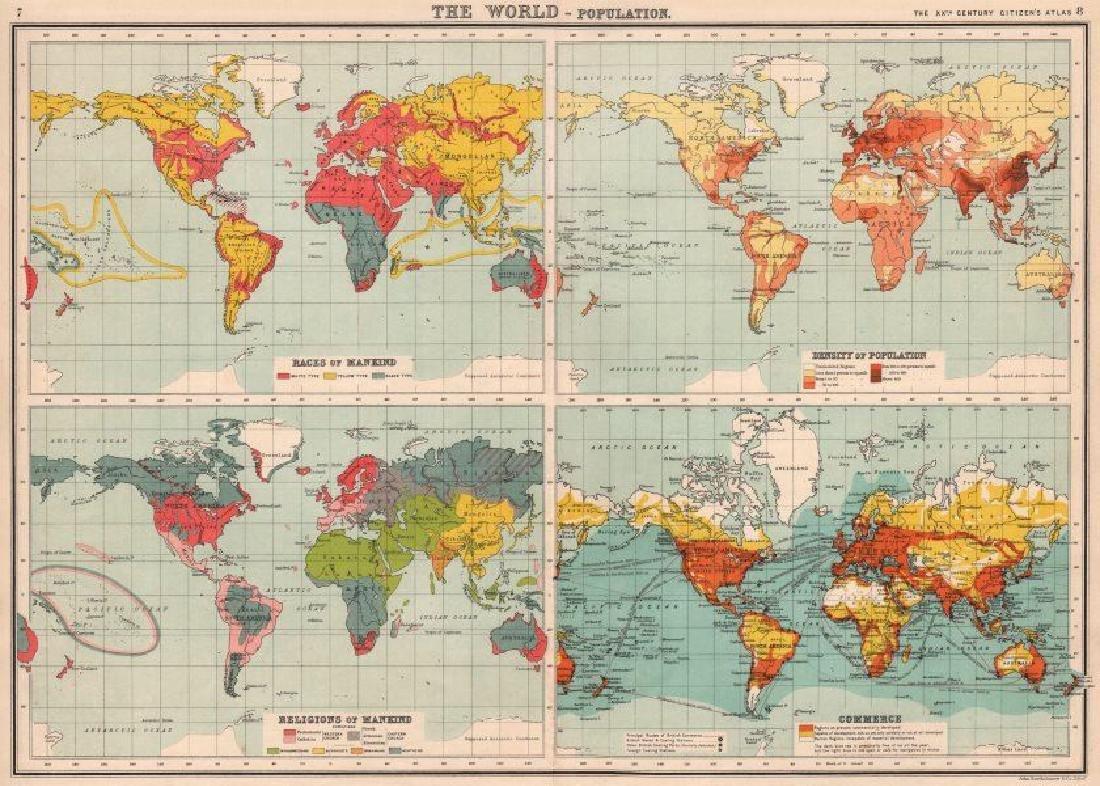 Bartholomew: Antique World Population Map, 1901