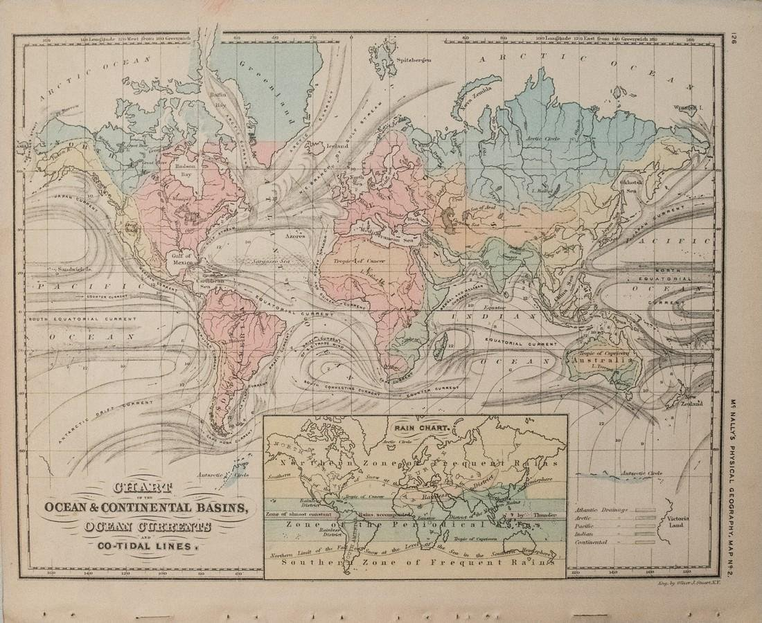 McNally: Antique Chart Ocean Currents & Rain Fall, 1874