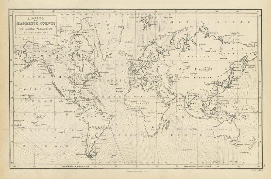 Aikman: Antique Map of World, Magnetic Curves, 1856