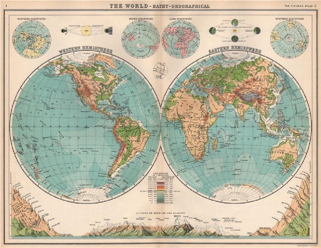 Bartholomew: Antique Map of World in Twin Hemispheres
