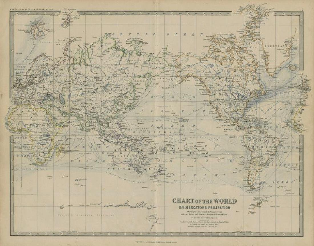 Johnston: Antique Map of World on Mercator's Projection