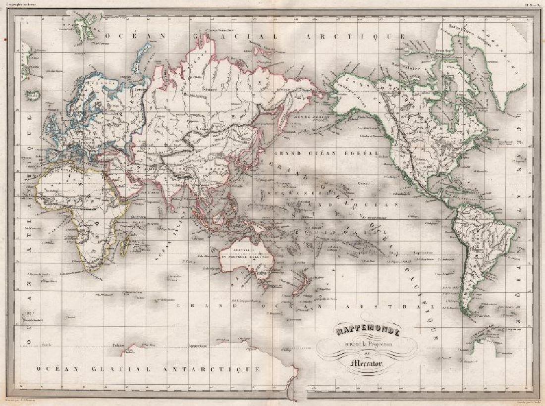 Malte-Brun: Antique Map of the World, 1846