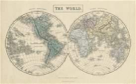 Hall: Antique Map of World Twin Hemispheres, 1856