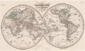Malte-Brun: Antique Map of World, Twin Hemispheres 1846