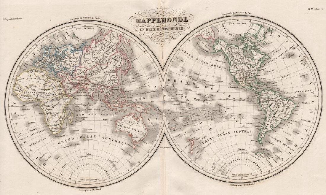 Malte-Brun: Antique Map of World, Twin Hemispheres 1846