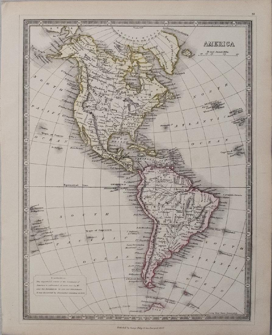 Philip: Antique Map of North and South America, 1852