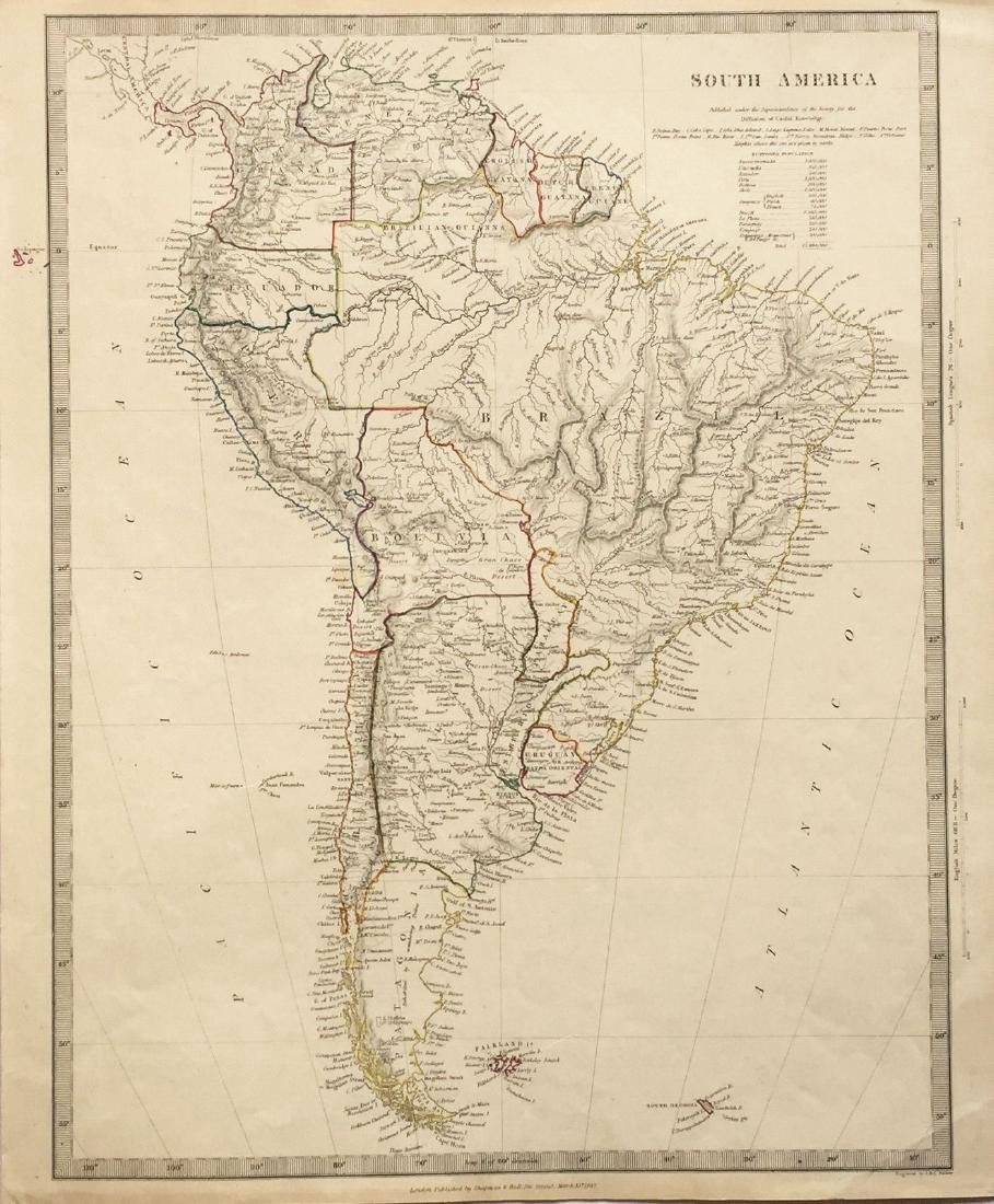 Walker: Antique Map of South America, 1842