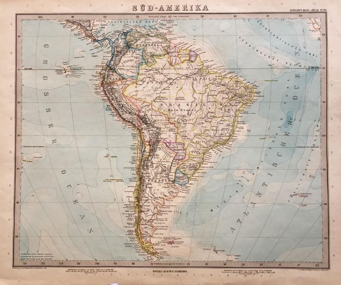 Salzmann: Antique Map of South America, 1889