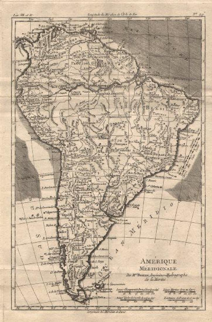 Bonne: Antique Map of South America, 1780