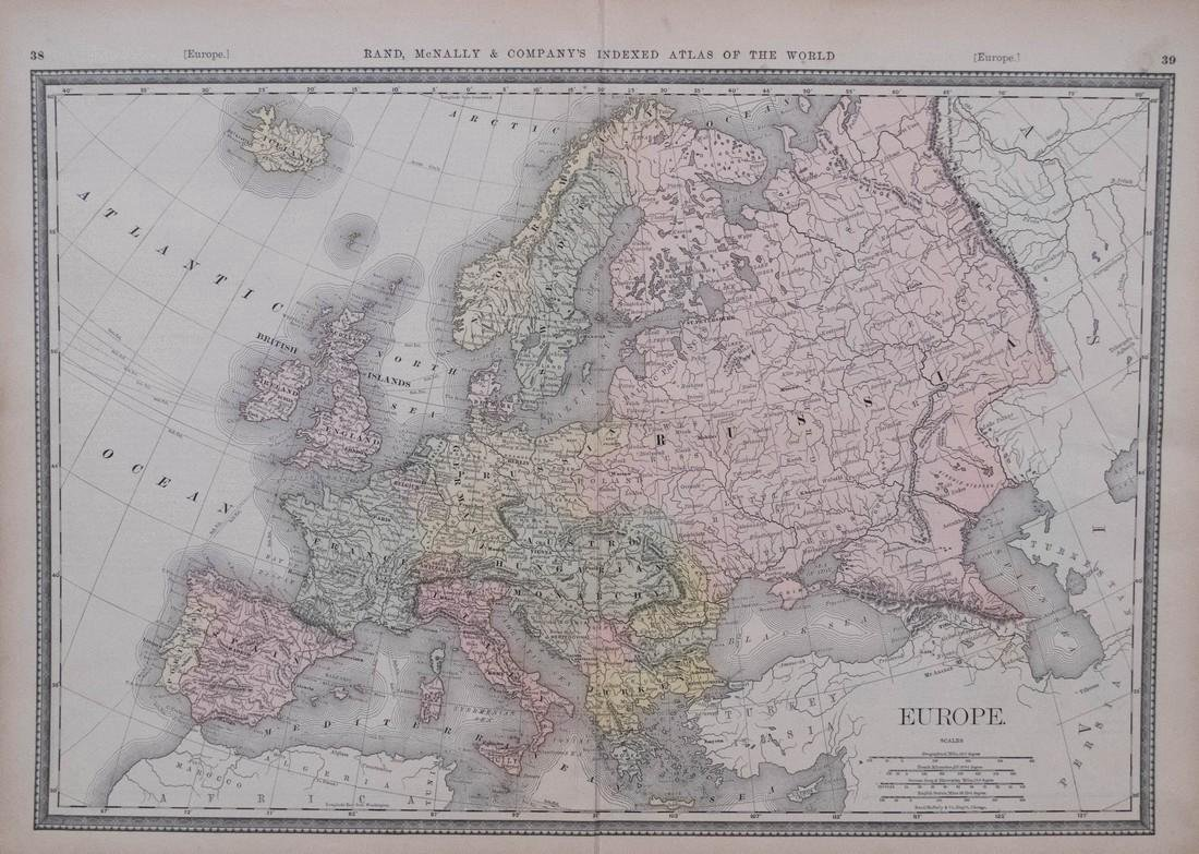 Rand McNally: Antique Map of Europe, 1882