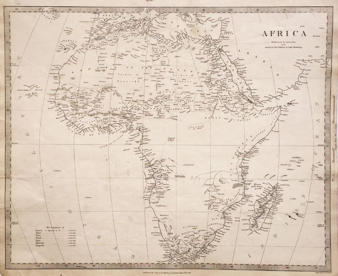Baldwin & Cradock/SDUK: Antique Map of Africa, 1836