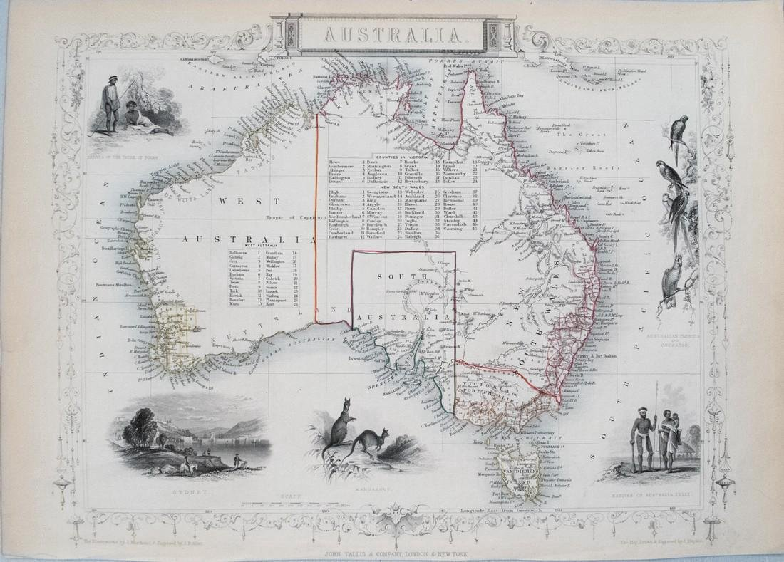 Tallis: Antique Map of Australia, 1850