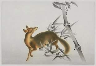 20th Century Japanese School Woodblock Fox in Bamboo