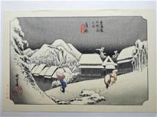 Ando Hiroshige Woodblock Night Snow at Kambara