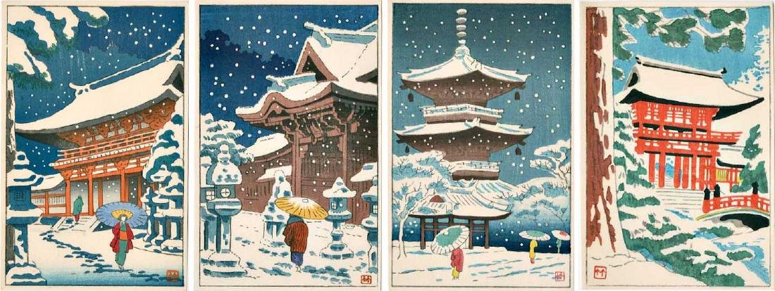 Asano Takeji 4 Small Woodblock Prints