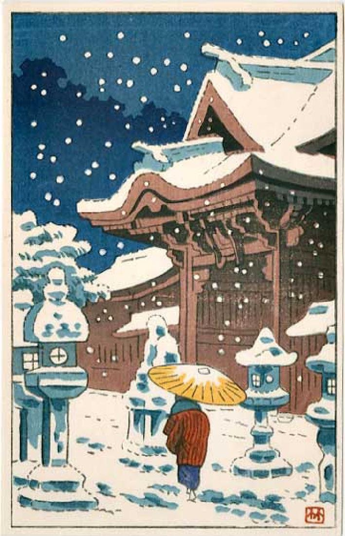 Asano Takeji 4 Small Woodblock Prints - 4