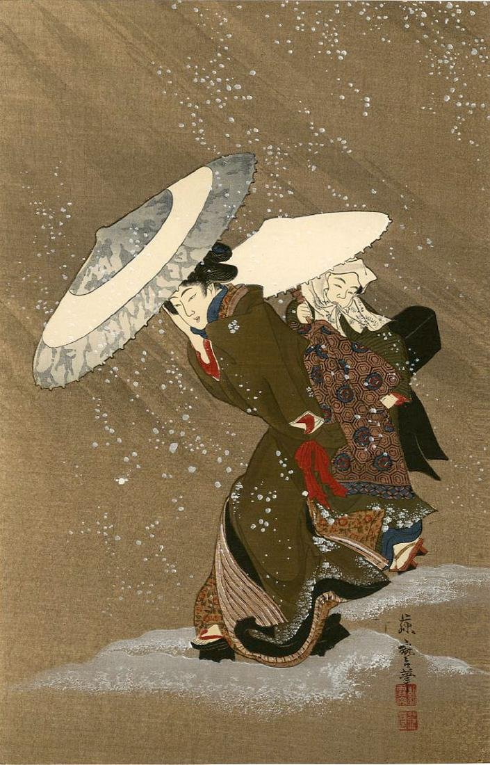 Fujimaro Kitagawa Woodblock Beauty in the Snow