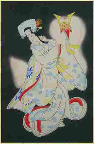 Hasegawa Sadanobu II Woodblock Lady Yaegakihime