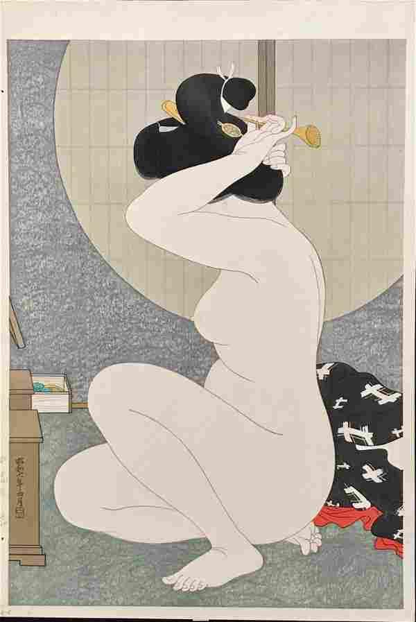 Hirano Hakuho Woodblock Woman Arranging Hair