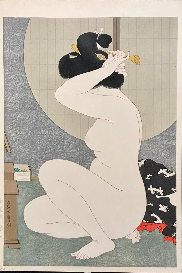 Hirano Hakuho Woodblock Woman Arranging Hair