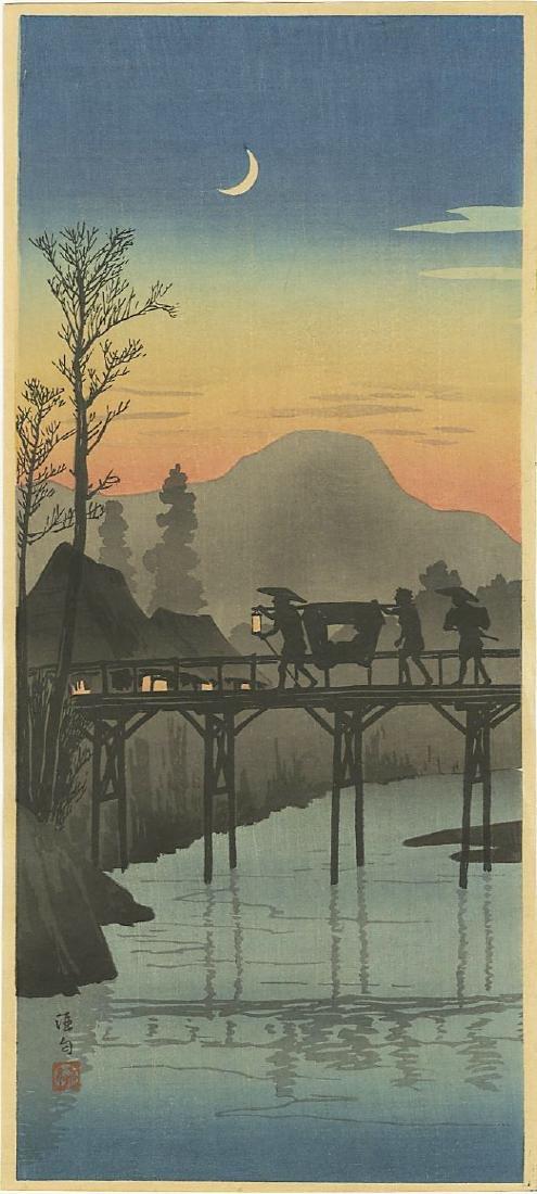 Hiroaki Takahashi Shotei Woodblock Evening Glow Bridge