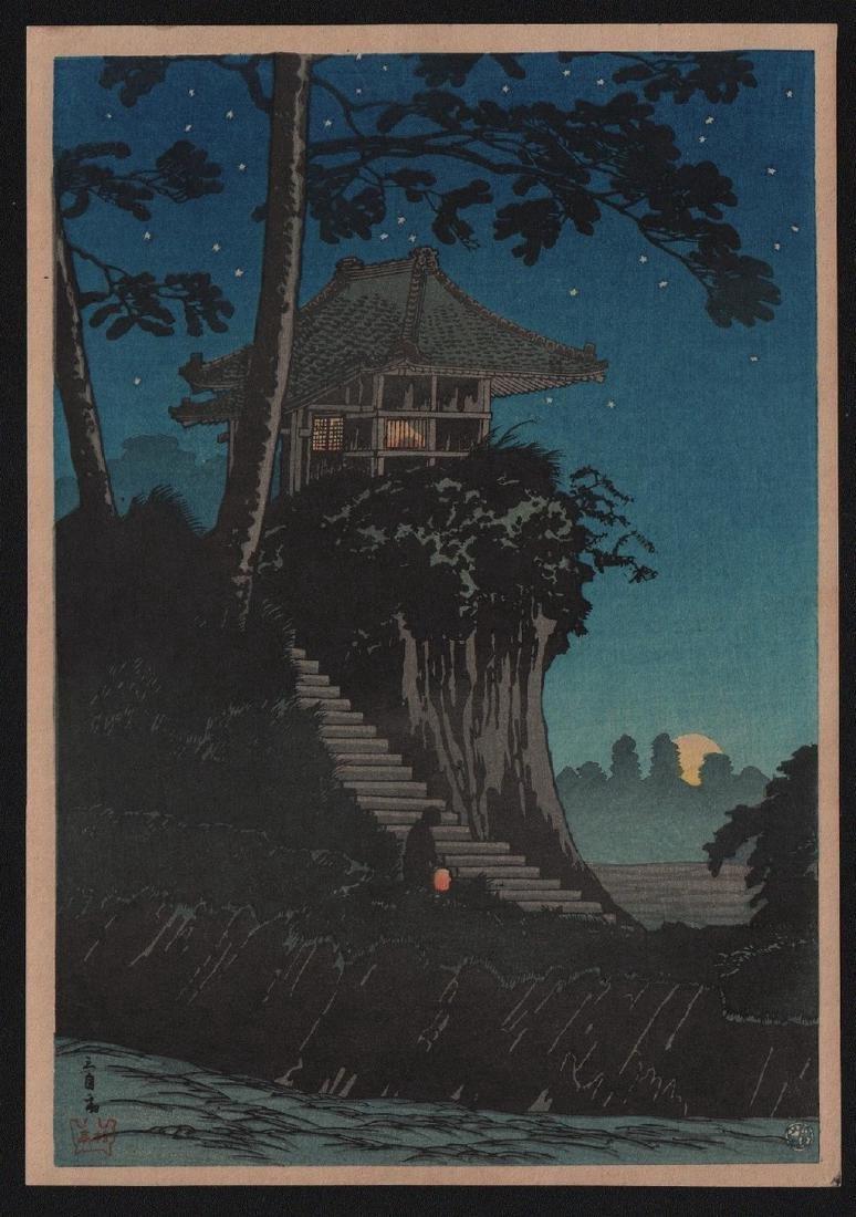 Hiroaki Takahashi Shotei Woodblock Moonrise Tokumochi