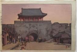 Hiroshi Yoshida Woodblock Dainan Gate in Mukden