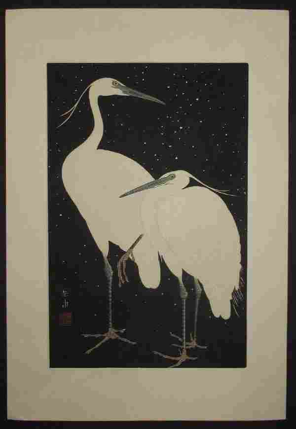 Ide Gakusui First Edition Woodblock Two Herons in Snow