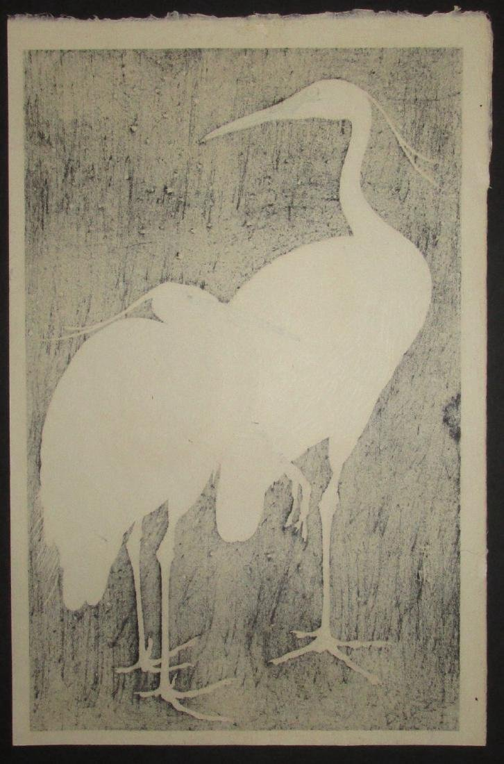Ide Gakusui First Edition Woodblock Two Herons in Snow - 3