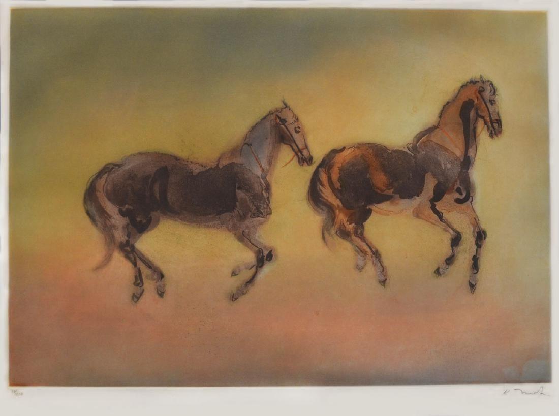 Kaiko Moti Woodblock Two Horses