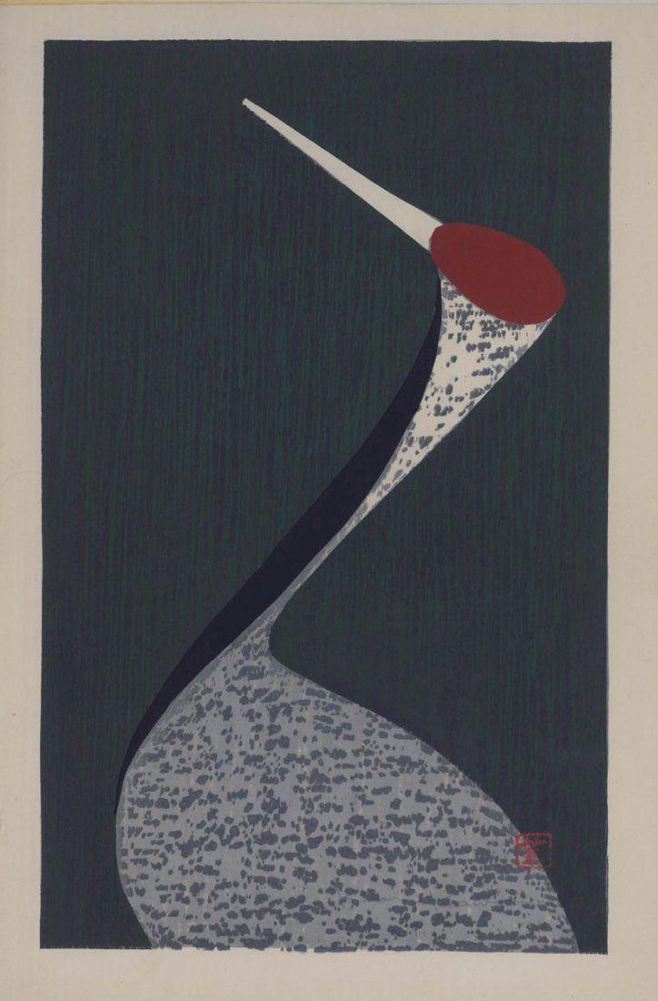 Kaoru Kawano 2 Woodblocks Sacred Crane & Standing Crane
