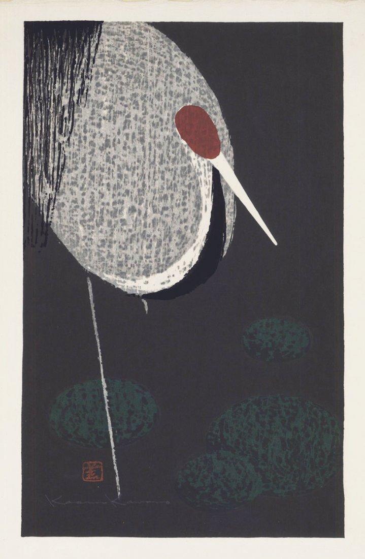 Kaoru Kawano 2 Woodblocks Sacred Crane & Standing Crane - 2