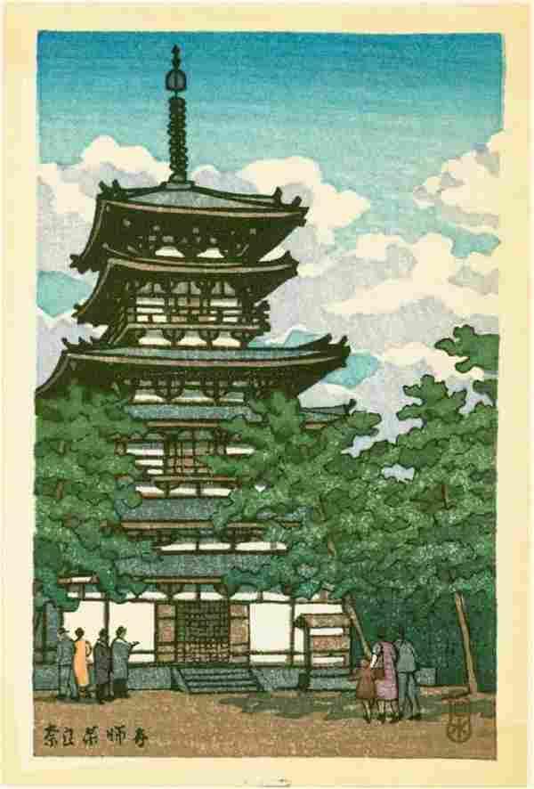 Kawase Hasui Woodblock Great Pagoda, Nara