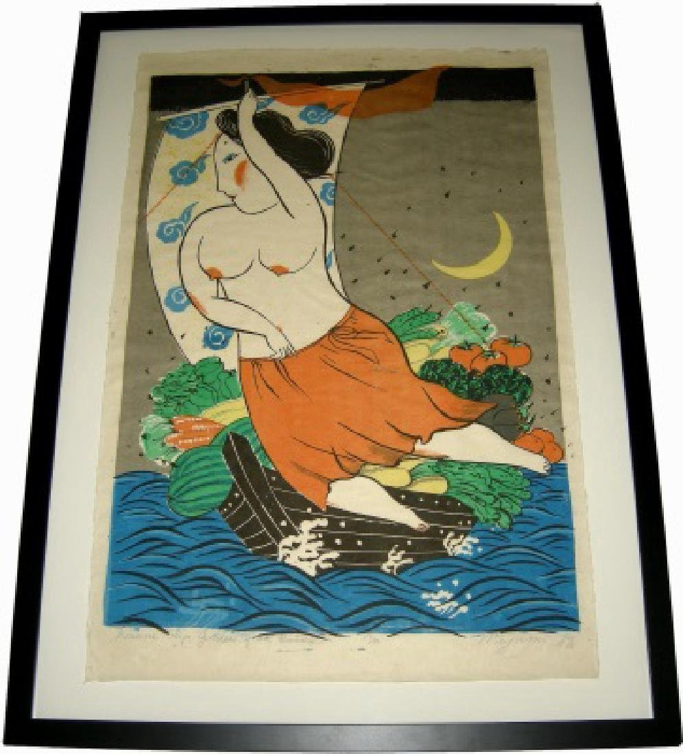 Mayumi Oda Silkscreen Treasure Ship; Goddess of Earth - 2