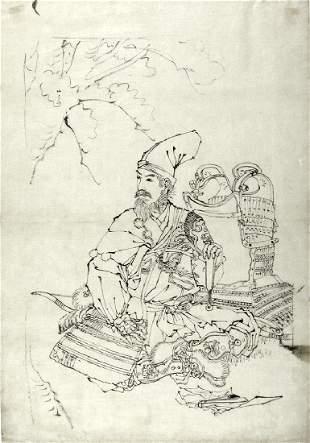 Mizuno Toshikata Preparatory Drawing Portrait Warrior